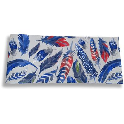 Porte-chéquier Long Horizontal pour Femme Plumes bleues PCP6026