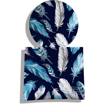 Miroir de Poche avec étui, Miroir de Maquillage Plumes grises et bleues MP6030
