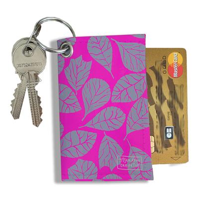 Porte-clés pratique pour cartes & photos femme, Etui porte-clés et cartes Feuillage PCC6023