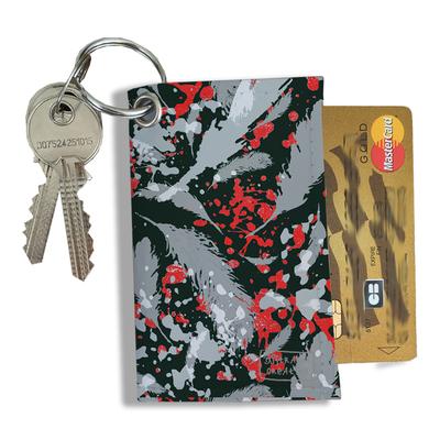 Porte-clés pratique pour cartes & photos femme, Etui porte-clés et cartes Plumes grises PCC6025