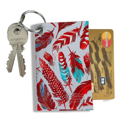 Porte-clés pratique pour cartes & photos femme, Etui porte-clés et cartes Plumes rouges PCC6027