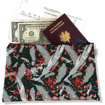 Pochette voyage, porte documents Plumes grises PV6025