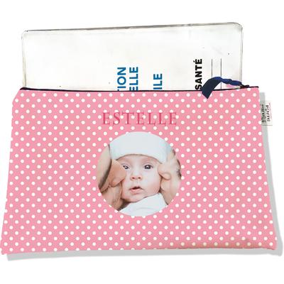 Protège carnet de santé personnalisé zippé pour bébé fille motif Pois