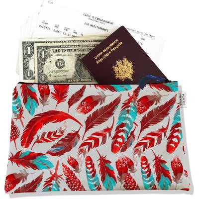 Pochette voyage, porte documents Plumes rouges PV6027