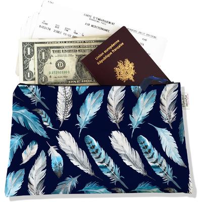 Pochette voyage, porte documents Plumes grises et bleues PV6030