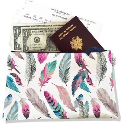 Pochette voyage, porte documents Plumes multicolores PV6003-2019