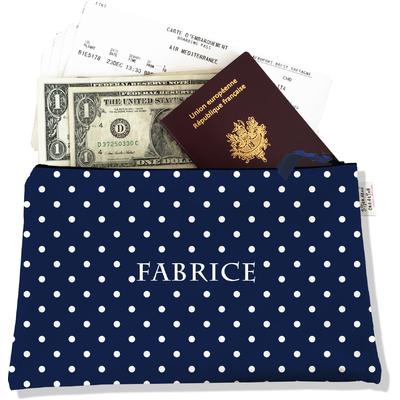 Pochette voyage personnalisable, porte documents pois blancs fond bleu marine P2099-2015
