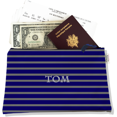Pochette voyage personnalisable, porte documents marinière bleu marine et grise P2174-2015