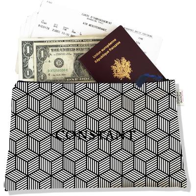 Pochette voyage personnalisable, porte documents graphique noir et blanc P2164-2015