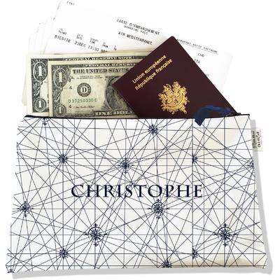 Pochette voyage personnalisable, porte documents carte bleu marine fond blanc P2137-2015