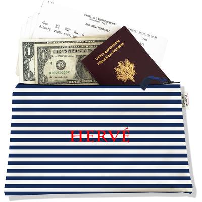 Pochette voyage personnalisable, porte documents marinière bleu et blanc P2131-2015