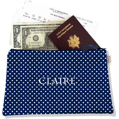 Pochette voyage personnalisable, porte documents pois blancs fond bleu marine P2064-2015