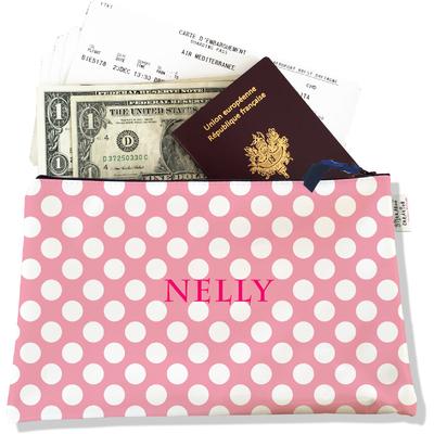 Pochette voyage personnalisable, porte documents petits pois blancs fond noir P2066-2015