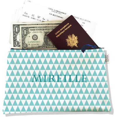Pochette voyage personnalisable, porte documents graphique bleu ciel P2083-2015