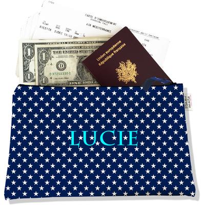 Pochette voyage personnalisable, porte documents étoiles blanches fond bleu marine P2088-2015