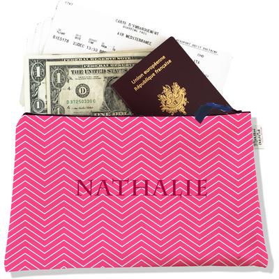 Pochette voyage personnalisable, porte documents chevrons blancs fond rose P2086-2015