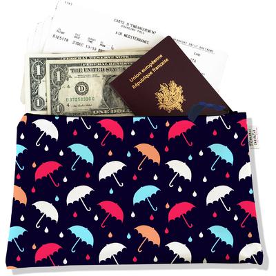 Pochette voyage, porte documents parapluies multicolores fond bleu marine 3273-2017