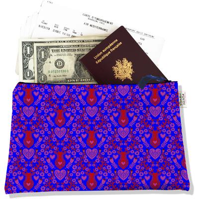 Pochette voyage, porte documents Scandinave bleu et rouge 3234-2017