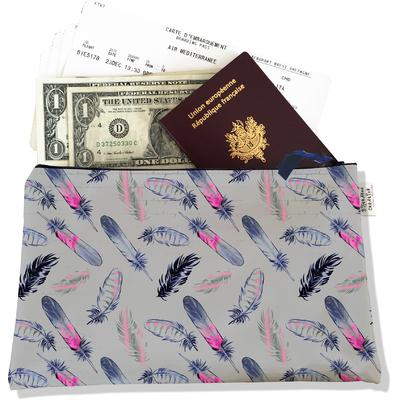 Pochette voyage, porte documents plumes roses et bleues fond gris 3237-2017