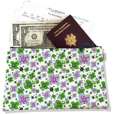 Pochette voyage, porte documents petites fleurs vertes et grises 3226-2017