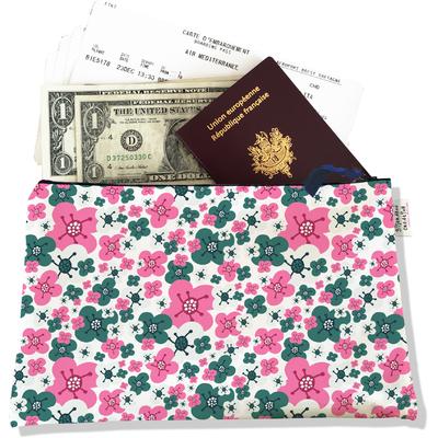 Pochette voyage, porte documents petites fleurs roses et vertes 3222-2017