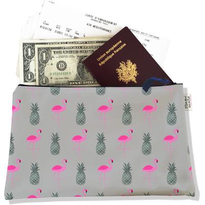 Pochette voyage, porte documents flamants roses et ananas fond gris 3216-2017
