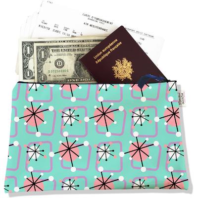 Pochette voyage, porte documents Atomic bleu et rose 3201-2017