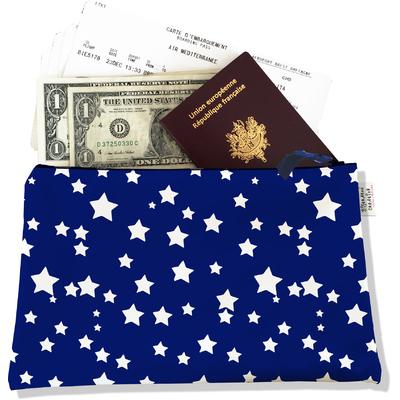 Pochette voyage, porte documents Etoiles blanches fond bleu marine PV729