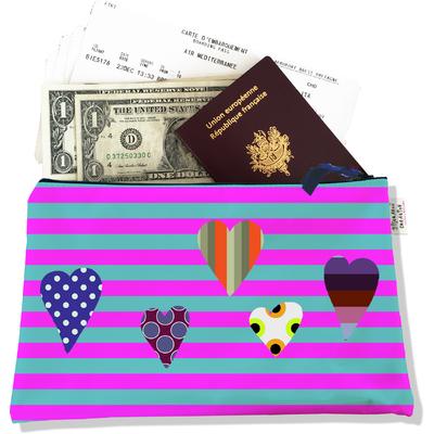 Pochette voyage, porte documents Coeurs multicolores fond marinière bleue et rose PV825