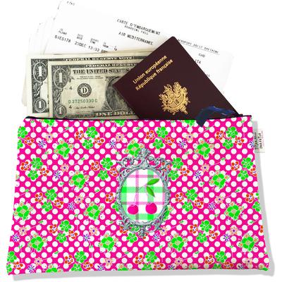 Pochette voyage, porte documents Cerises fond rose PV640