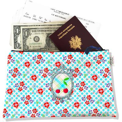 Pochette voyage, porte documents Cerises fond bleu PV639