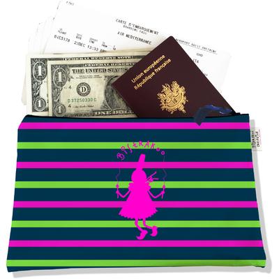 Pochette voyage, porte documents Bigoudène Bistrakoo rose fond marinière multicolore PV895