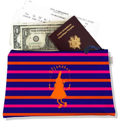 Pochette voyage, porte documents Bigoudène Bistrakoo orange fond marinière multicolore PV683