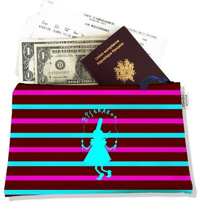 Pochette voyage, porte documents Bigoudène Bistrakoo Bleue fond Marinière multicolore PV685