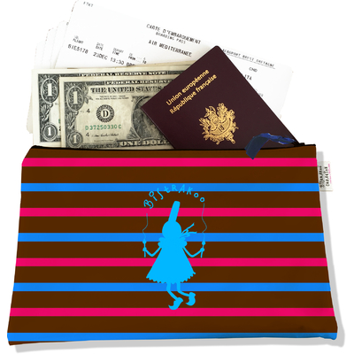 Pochette voyage, porte documents Bigoudène Bistrakoo bleue fond marinière multicolore PV684