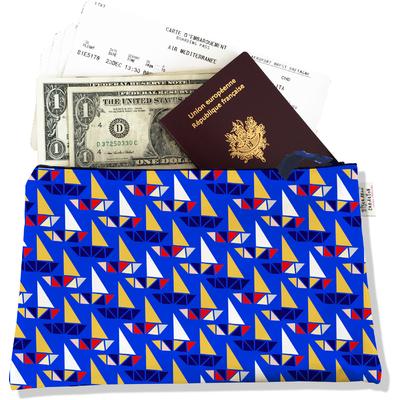 Pochette voyage, porte documents Bateaux multicolores fond bleu PV4037