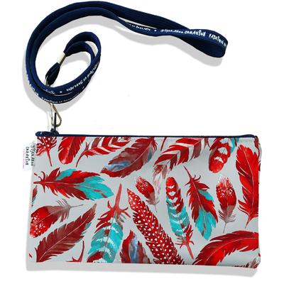 Pochette smartphone 5 & 6 pouces femme Plumes rouges PS6027