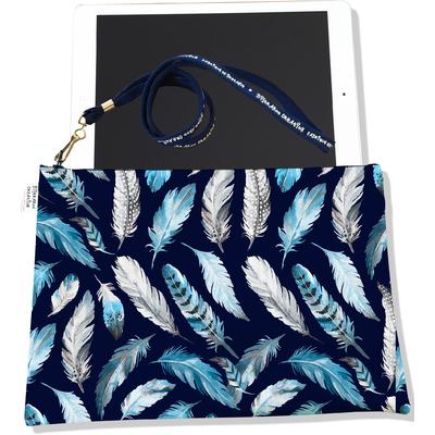 Housse pour tablette Plumes grises et bleues HT6030