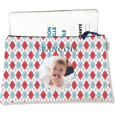 Protège carnet de santé personnalisé zippé pour bébé garçon motif Losanges