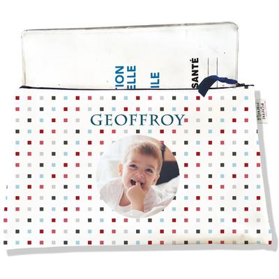 Protège carnet de santé personnalisé zippé pour bébé garçon motif Petits carrés