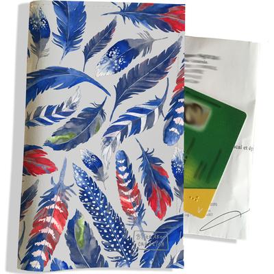 Porte ordonnance et carte vitale Plumes bleues PO6026
