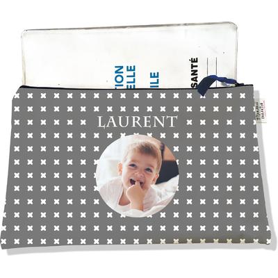 Protège carnet de santé personnalisé zippé pour bébé garçon motif Petites croix