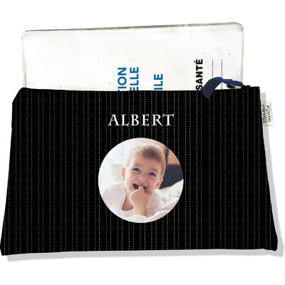 Protège carnet de santé personnalisé zippé pour bébé garçon motif Pointillés