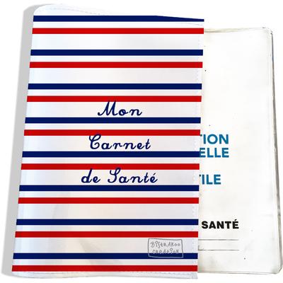 Protège carnet de santé Rayures bleues et rouges Collection Française