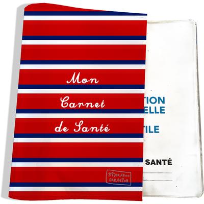 Protège carnet de santé Bandes rouges Collection Française