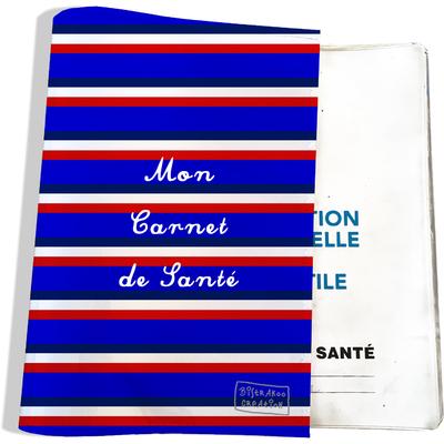 Protège carnet de santé Bandes bleues Collection Française