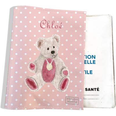 Protège carnet de santé personnalisable bébé fille enfant motif Ours PC6056-2019