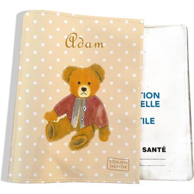 Protège carnet de santé personnalisable bébé garçon enfant motif Ours PC6062-2019