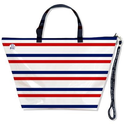 Grand Sac de voyage, sac week end rayures Bleu et rouge Collection Française