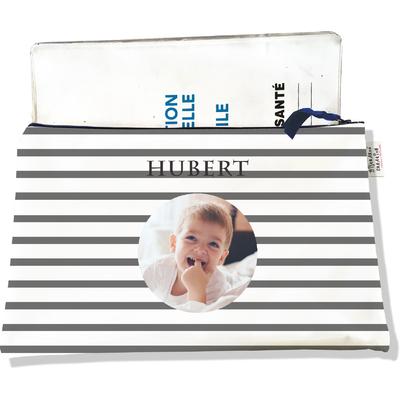 Protège carnet de santé personnalisé zippé pour bébé garçon motif Marinière